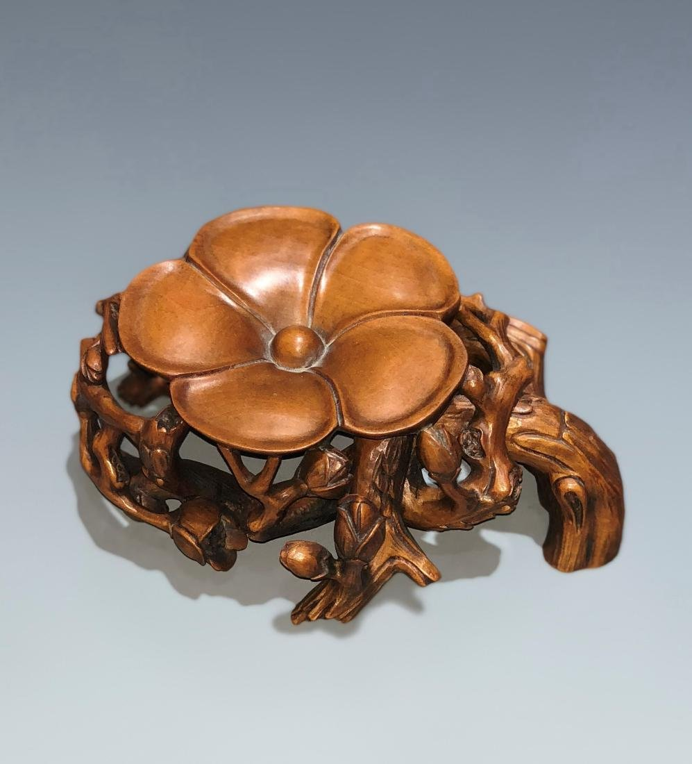 Carved Boxwood Plum Blossom Stand