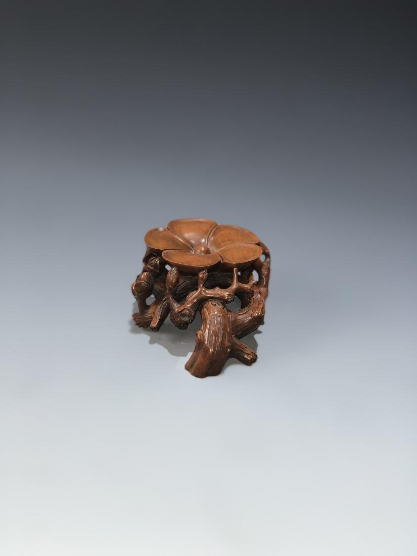 Carved Boxwood Plum Blossom Stand - 2