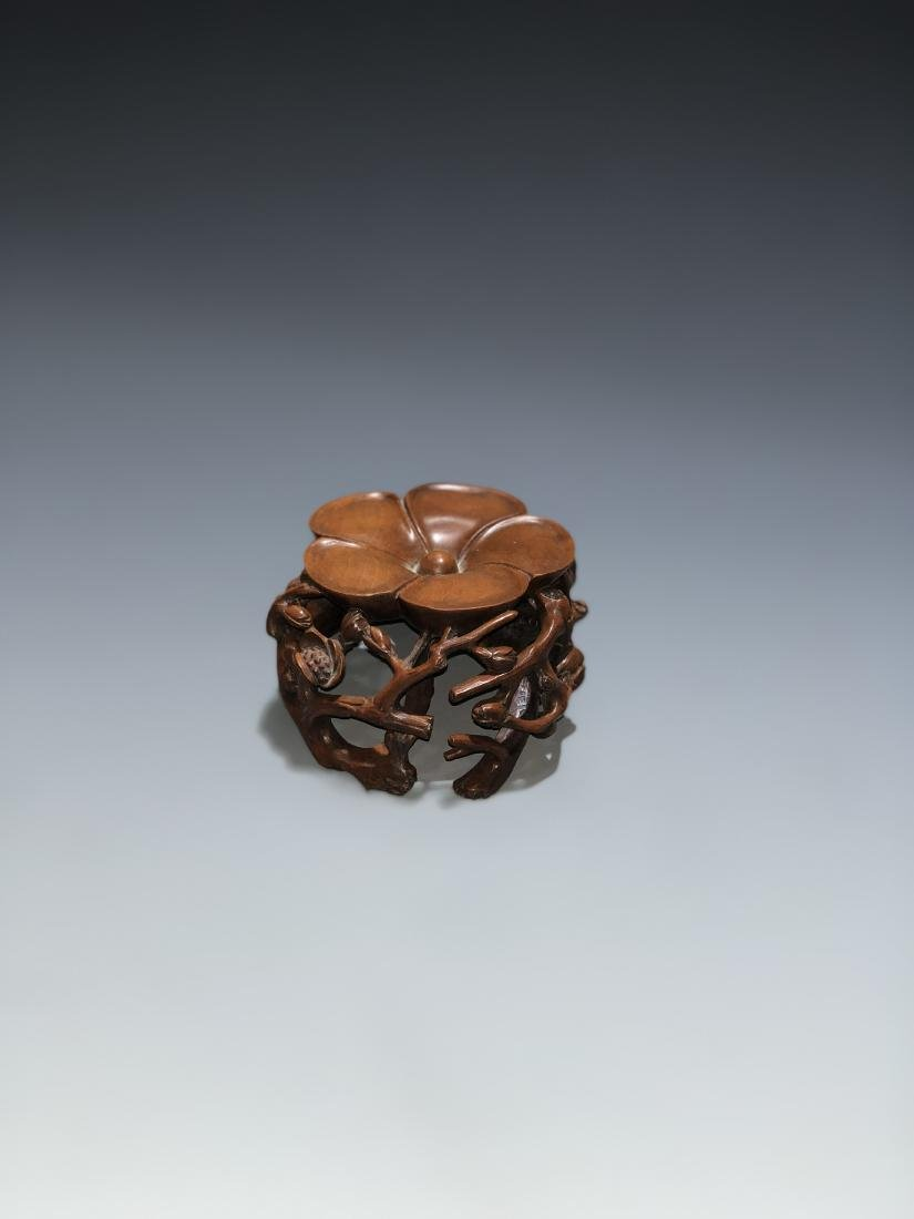 Carved Boxwood Plum Blossom Stand - 3