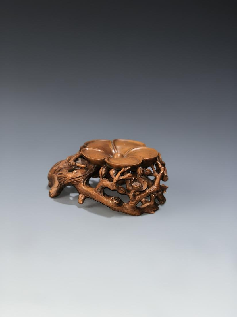 Carved Boxwood Plum Blossom Stand - 4