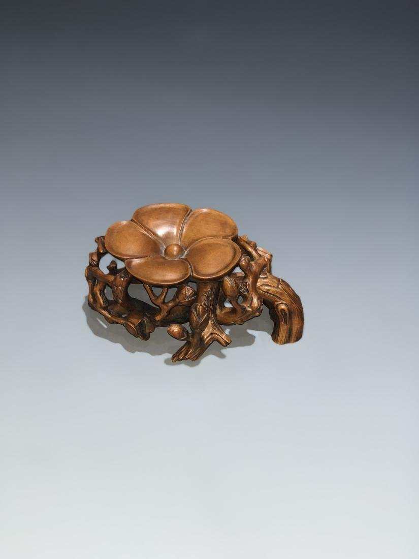 Carved Boxwood Plum Blossom Stand - 5