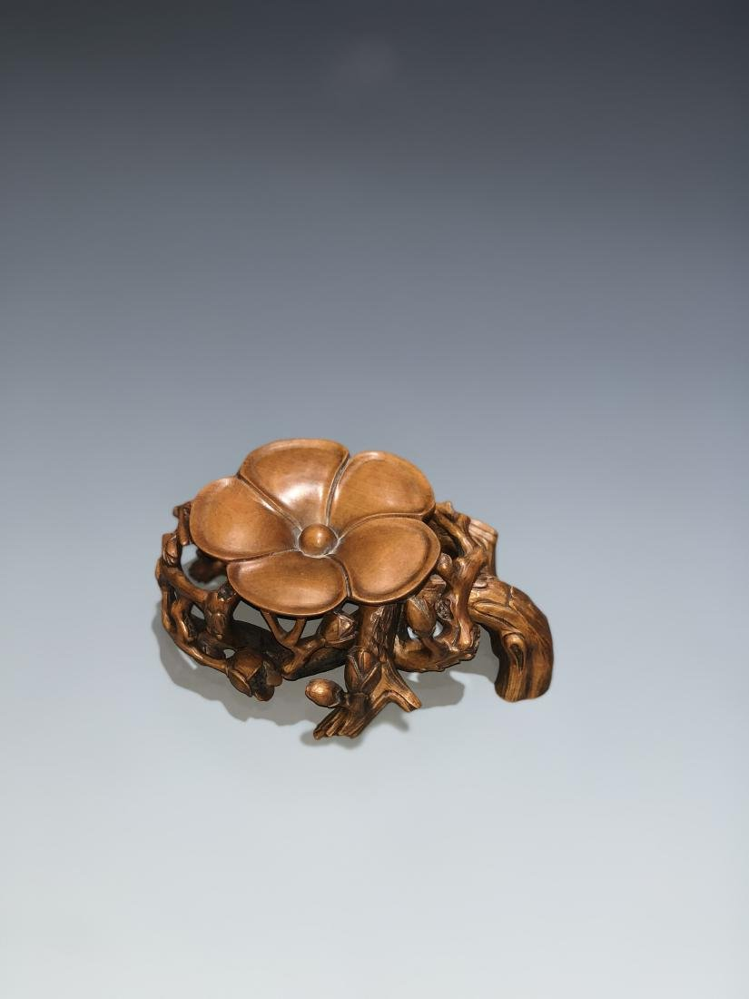 Carved Boxwood Plum Blossom Stand - 6