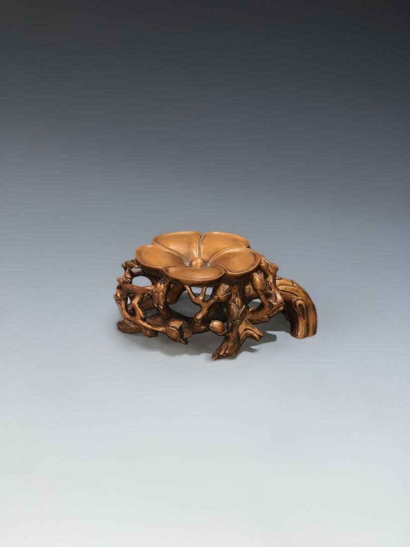 Carved Boxwood Plum Blossom Stand - 8