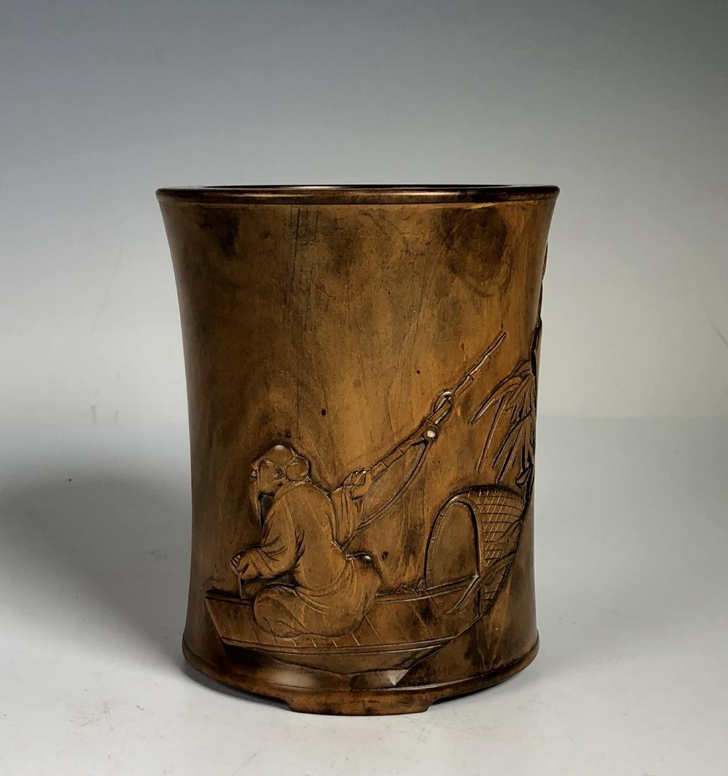 Box Wood Brush Pot