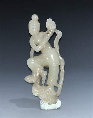 Carved White Jade Figure Of A Dancing Woman