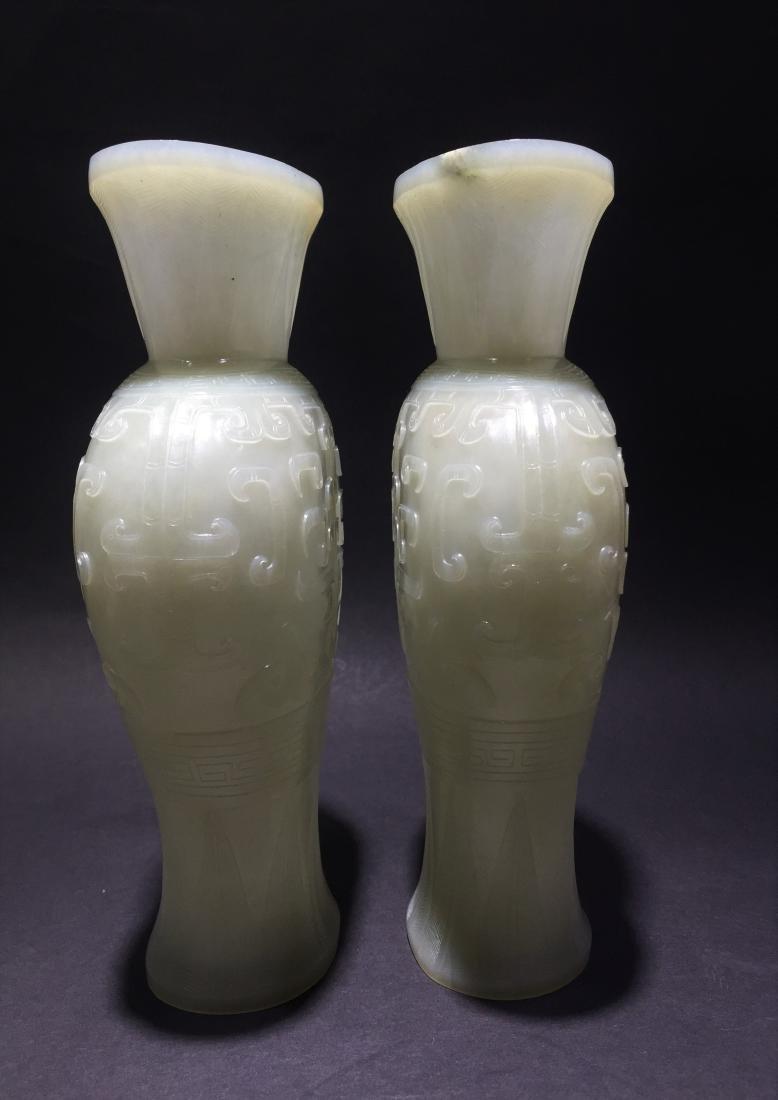 Pair of White Jade Vases - 3