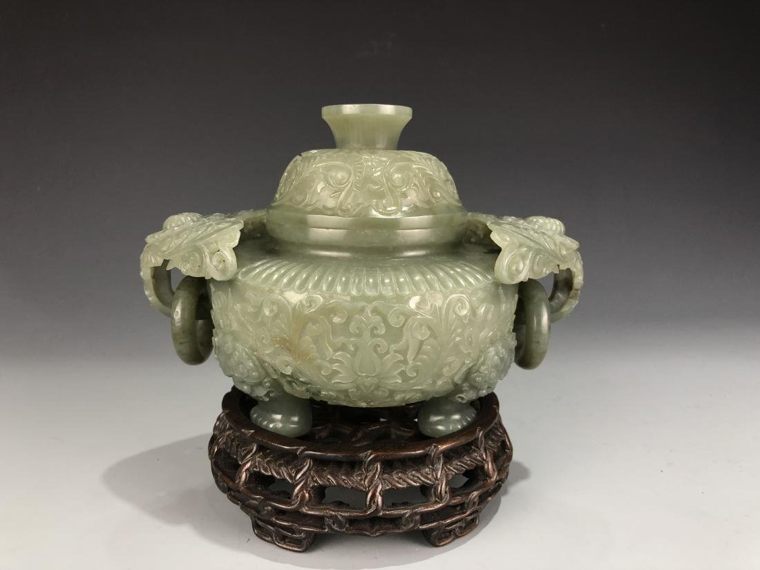 Green Jade Tripod Bowl with Cover
