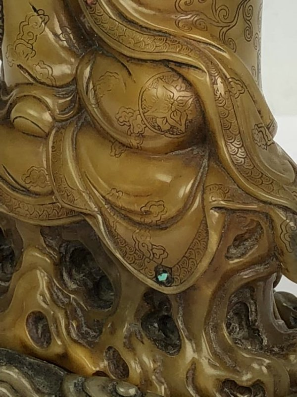 Detailed Carved Soap Stone Buddha with Stone Inlay - 6