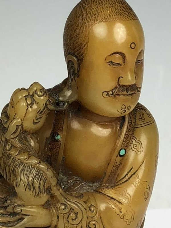 Detailed Carved Soap Stone Buddha with Stone Inlay - 7