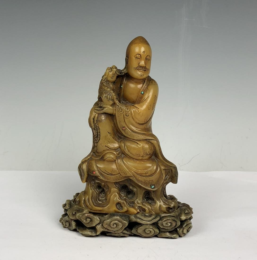 Detailed Carved Soap Stone Buddha with Stone Inlay