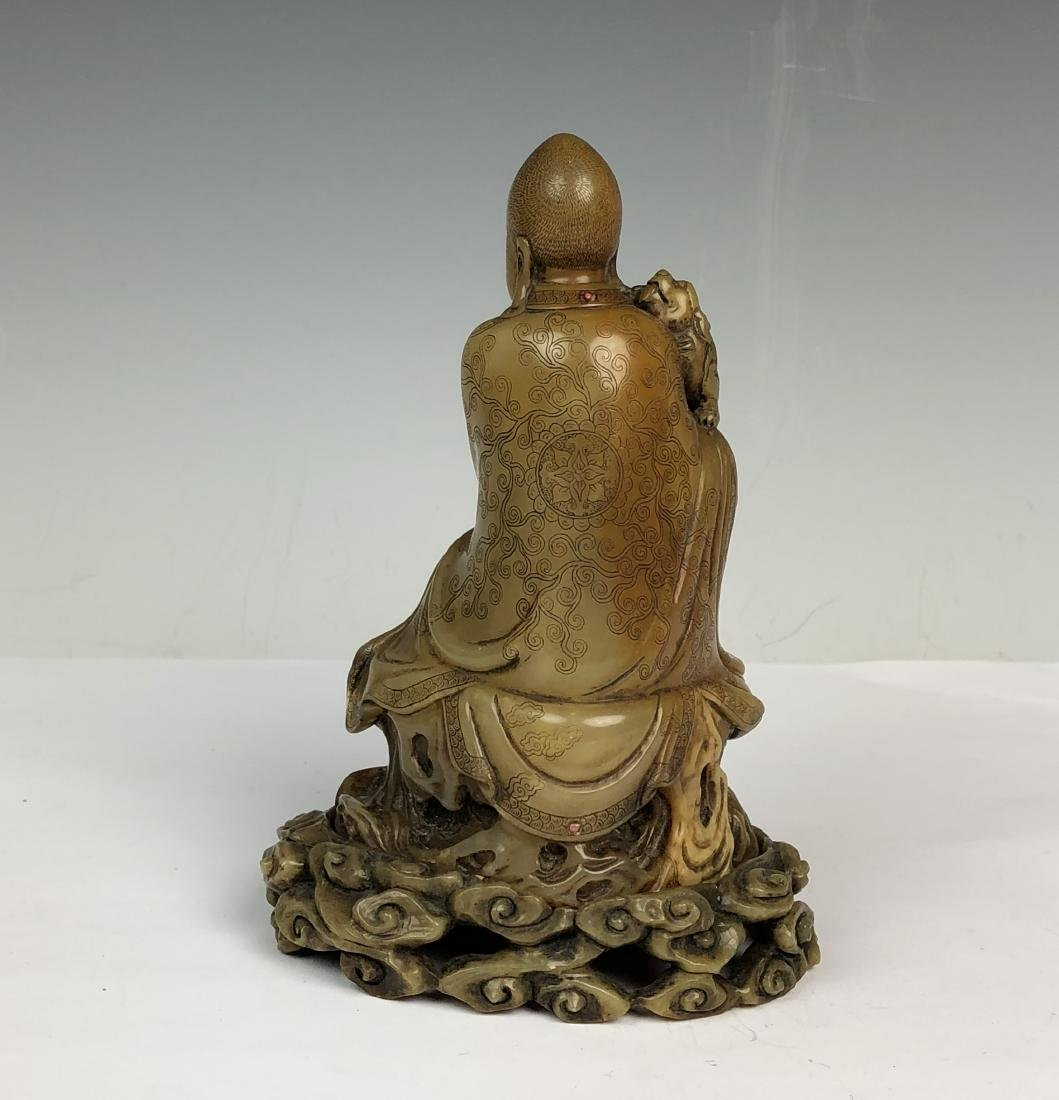 Detailed Carved Soap Stone Buddha with Stone Inlay - 4