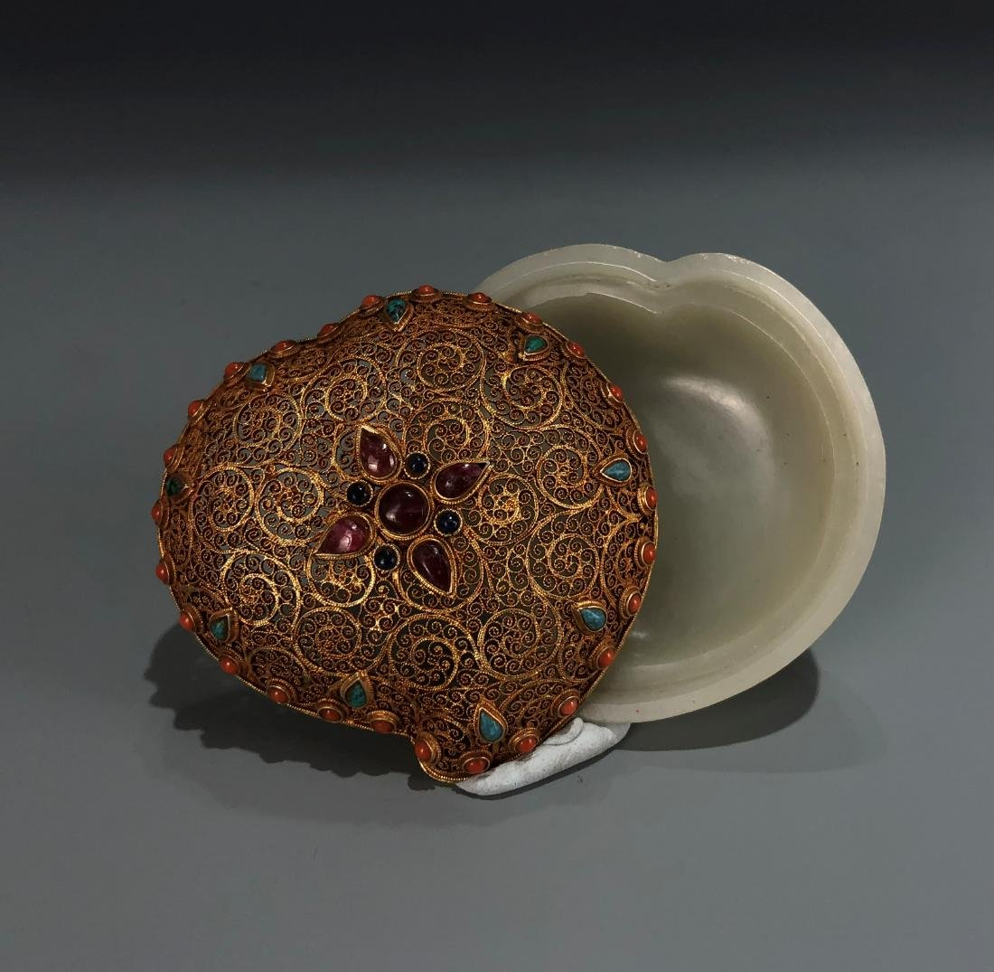 Gilt Silver and Jade Box with Stone Inlay Cover