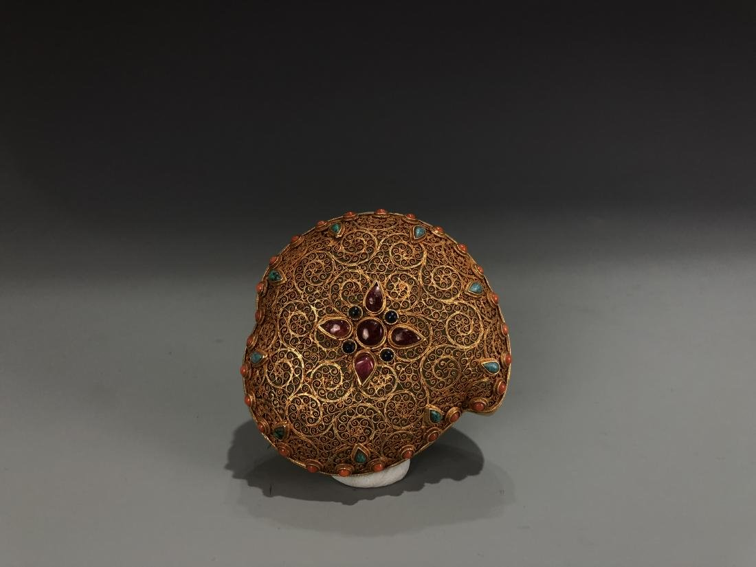 Gilt Silver and Jade Box with Stone Inlay Cover - 2