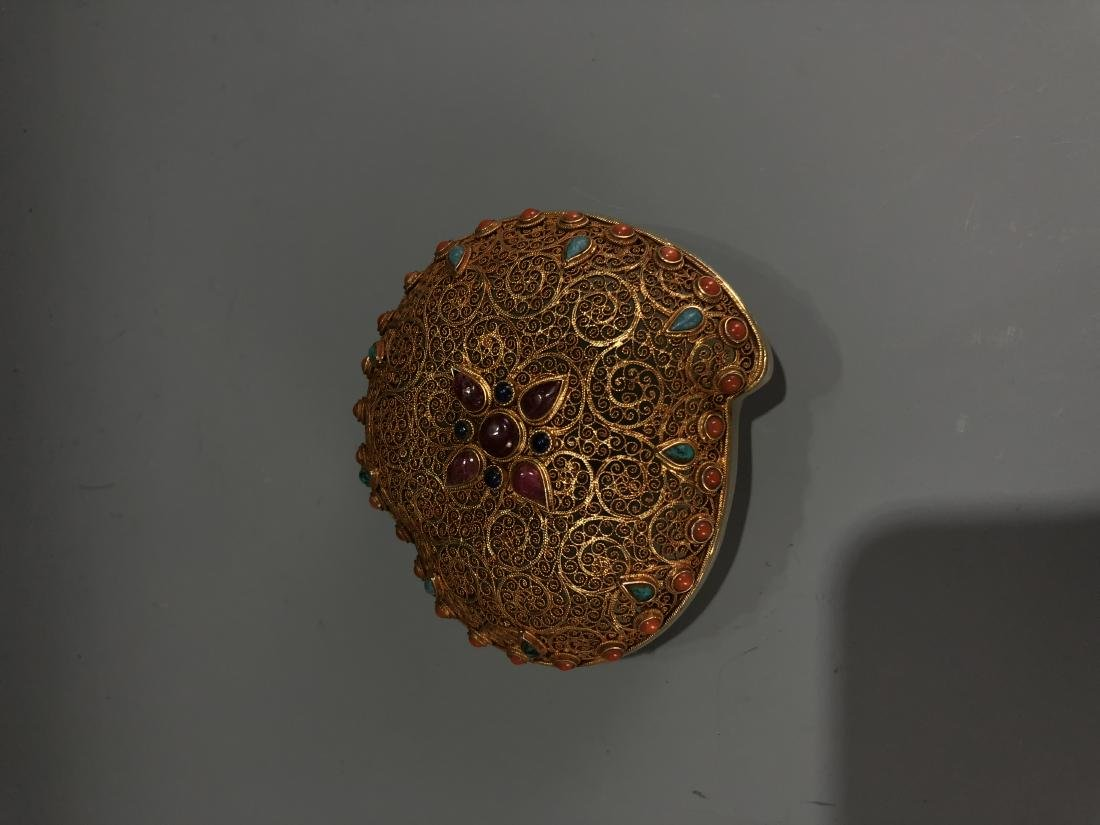 Gilt Silver and Jade Box with Stone Inlay Cover - 8