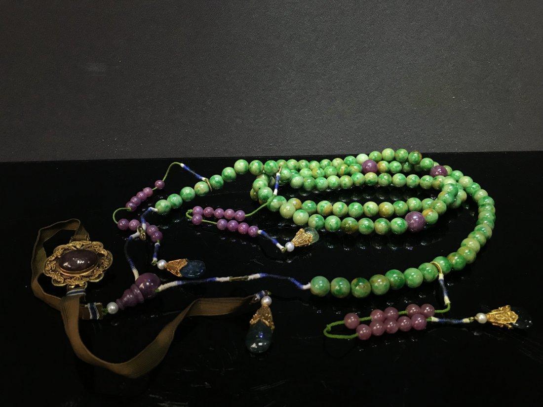 Imperial Court Necklace With Jadeite Tourmaline