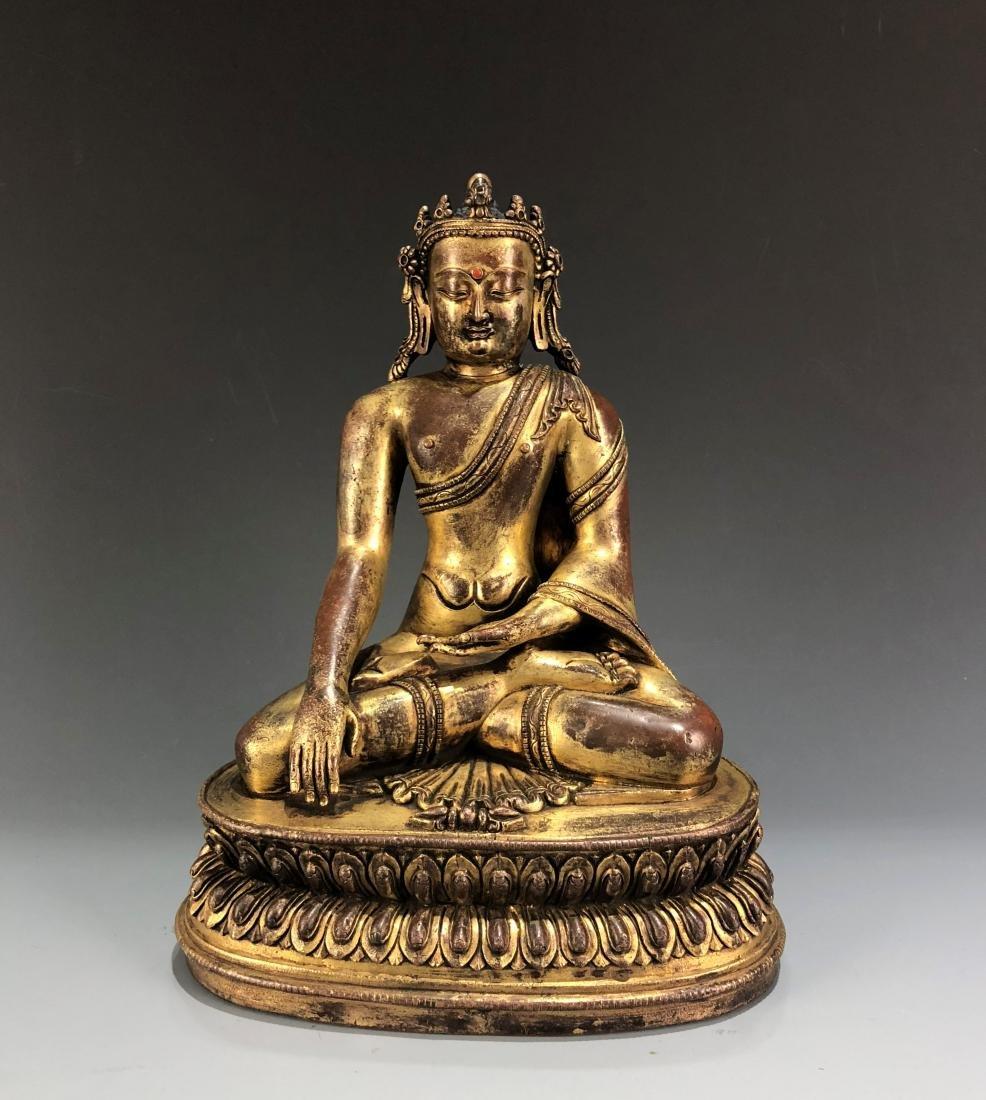 Gilt Bronze Figure of Shakyamuni - 12