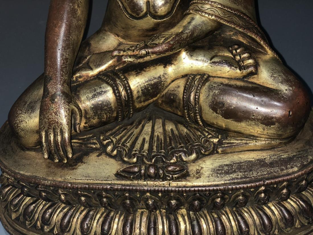 Gilt Bronze Figure of Shakyamuni - 4