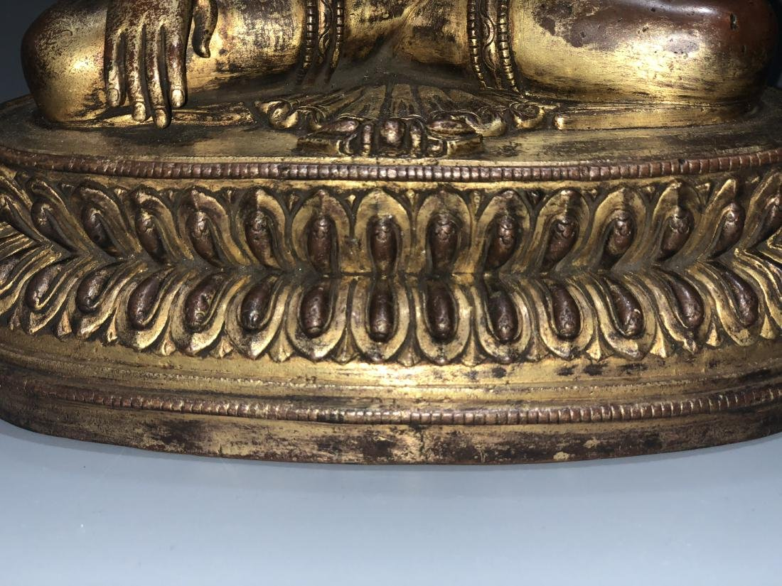 Gilt Bronze Figure of Shakyamuni - 5