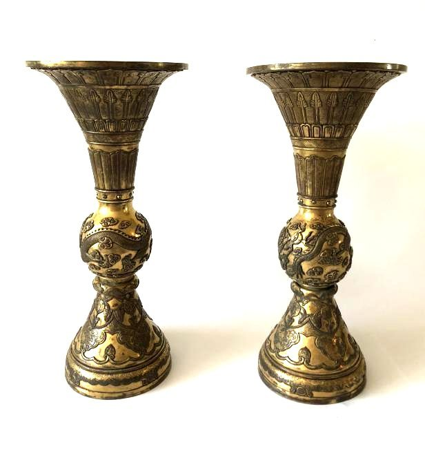 Pair of Gilt Bronze GU Form Vase