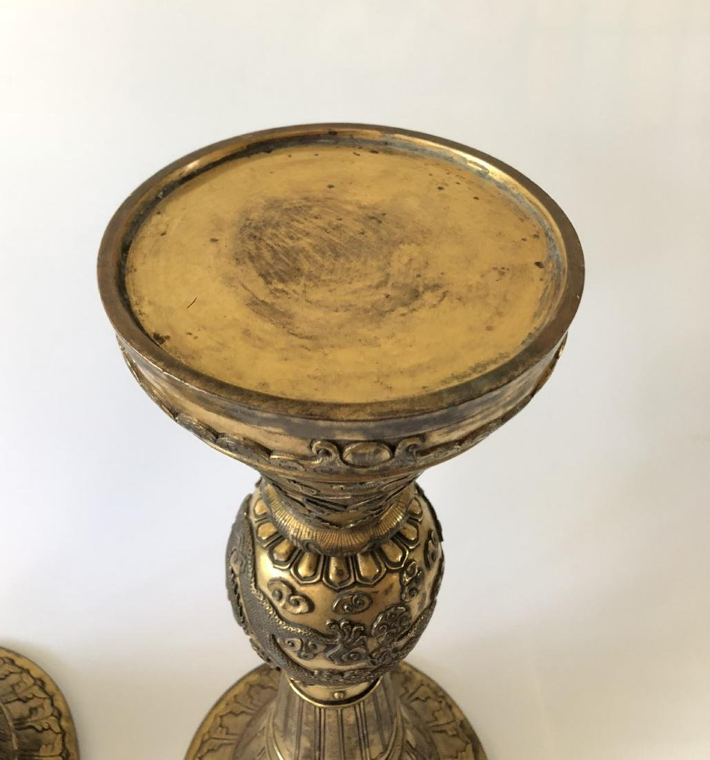 Pair of Gilt Bronze GU Form Vase - 4
