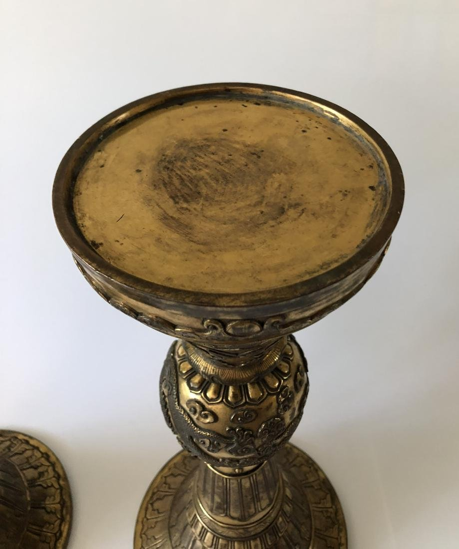 Pair of Gilt Bronze GU Form Vase - 6