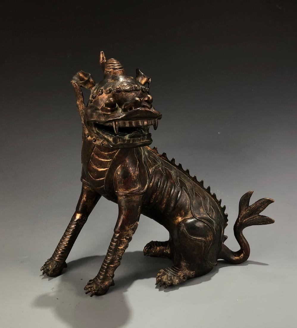 Lacquer-Gilt Bronze Mythical Beast - 10