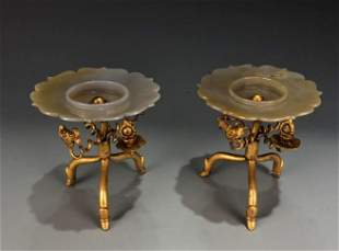 Pair of Gilt Bronze Agate Plates