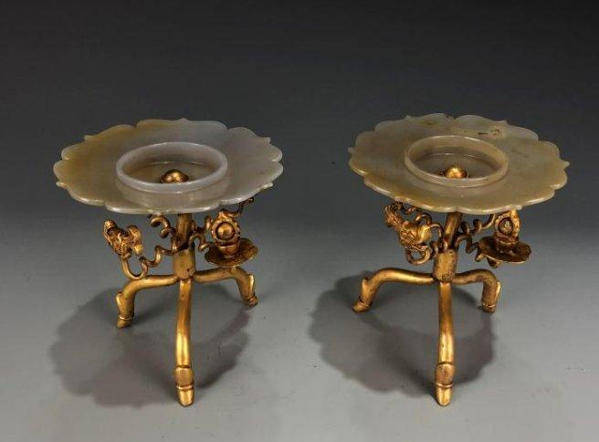 Pair of Gilt Bronze & Jade Candlesticks