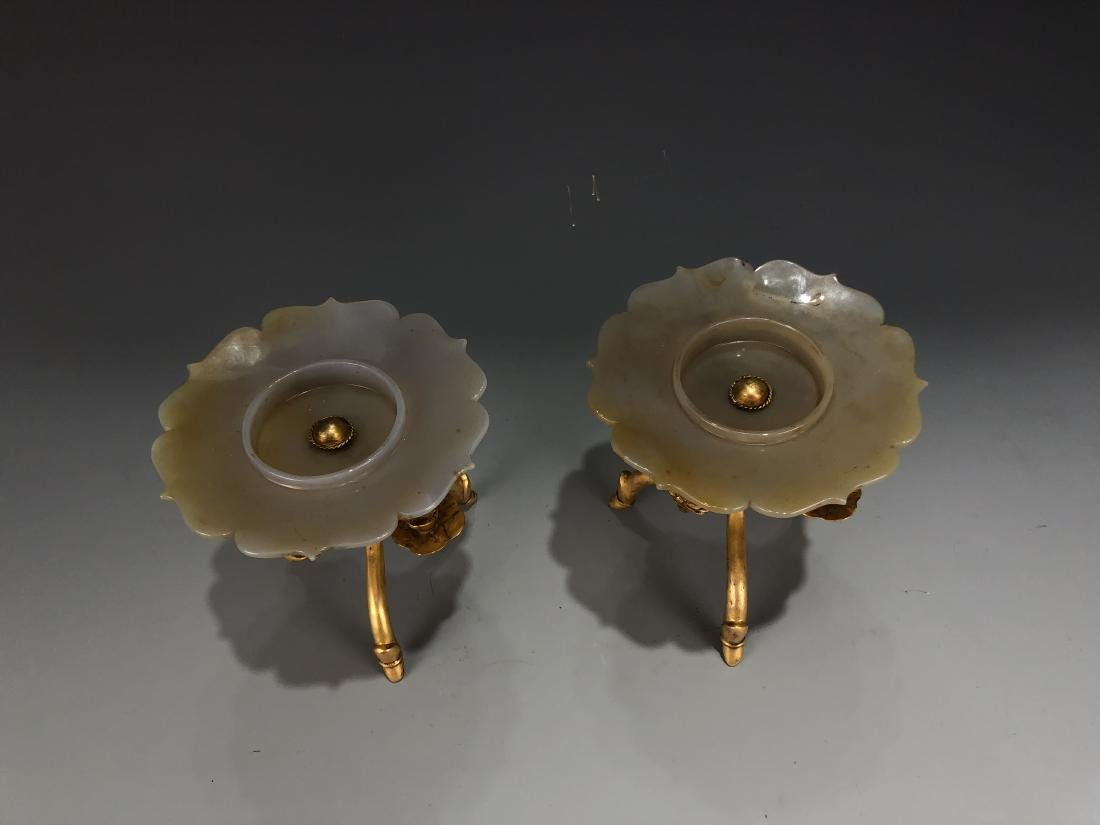 Pair of Gilt Bronze & Agate Plates - 2