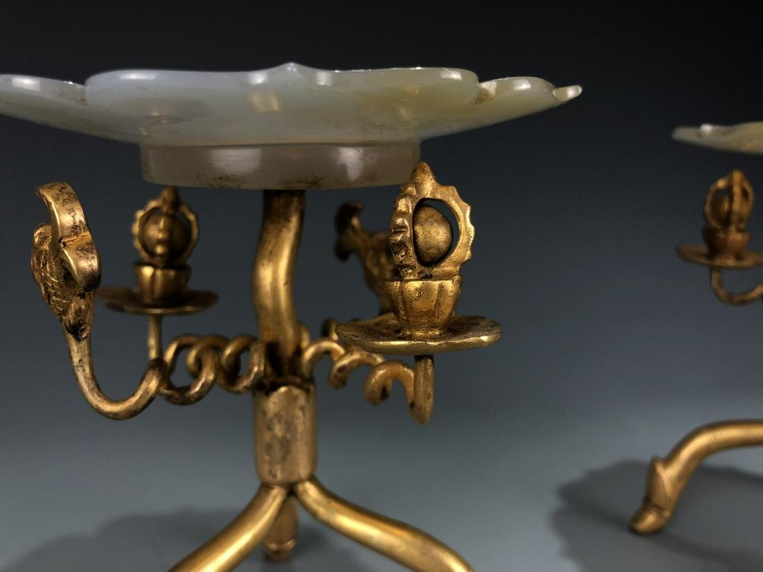 Pair of Gilt Bronze & Agate Plates - 5