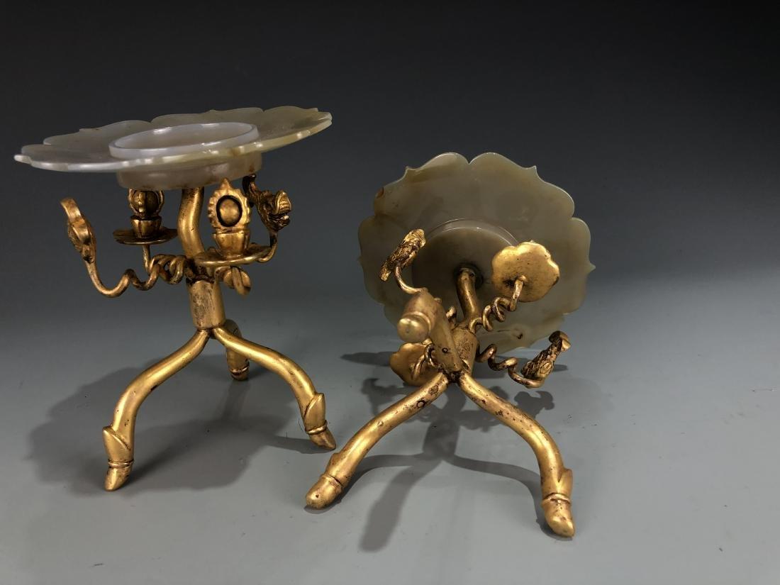 Pair of Gilt Bronze & Agate Plates - 6