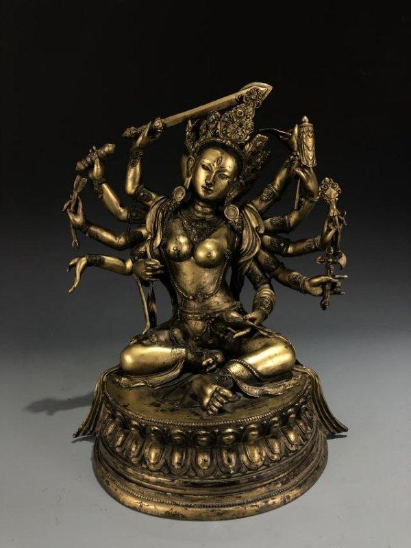 Gilt Bronze Figure of  Manjusri