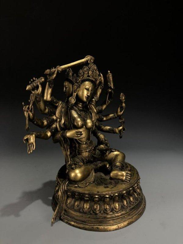 Gilt Bronze Figure of Manjusri - 9