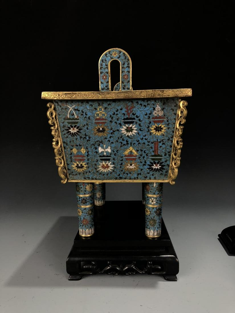 Cloisonne Enamel Censer with Cover and Mark - 10