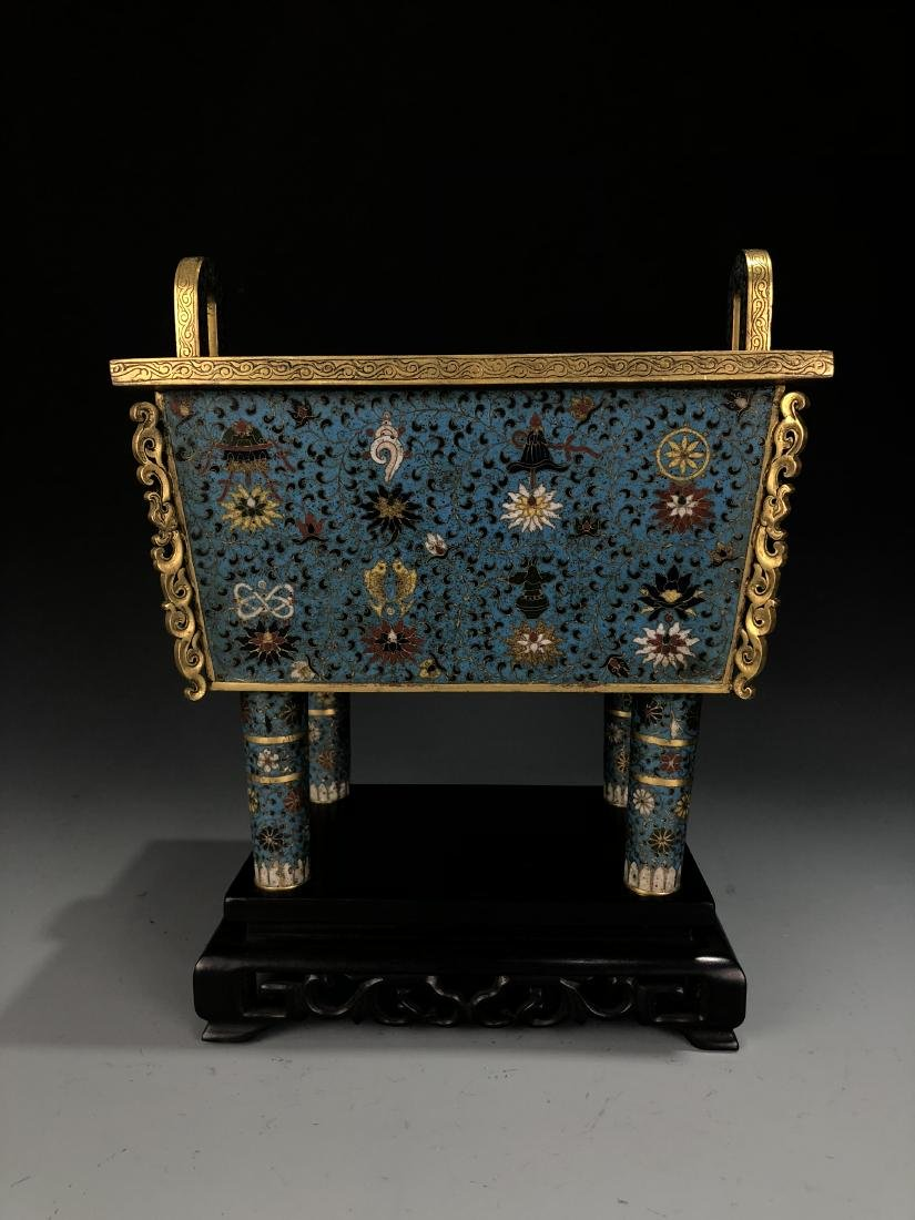 Cloisonne Enamel Censer with Cover and Mark - 11