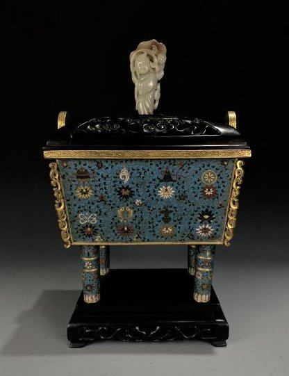 Cloisonne Enamel Censer with Cover and Mark
