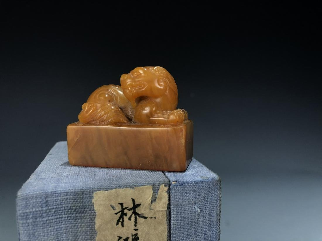 Soap Stone Lion Seal with Box - 4