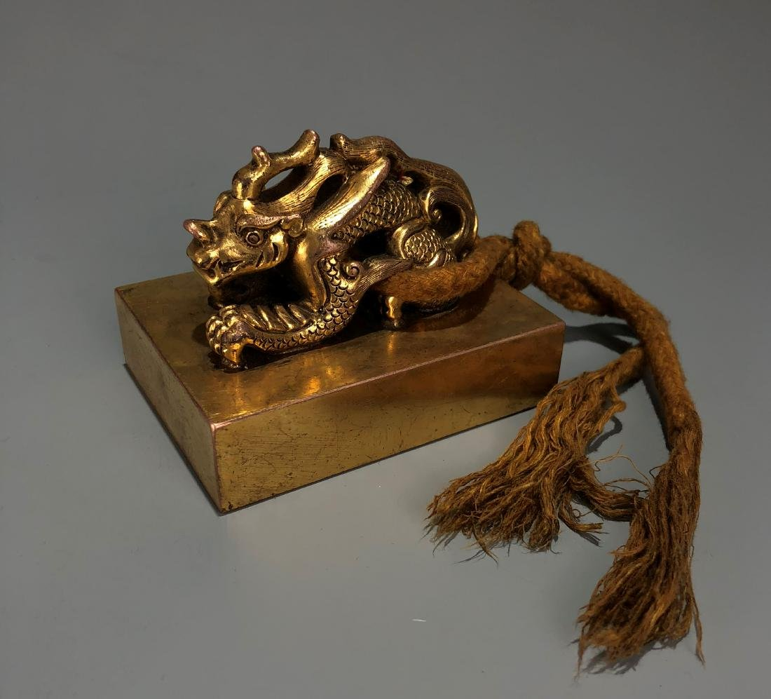 Gilt Bronze Dragon Seal