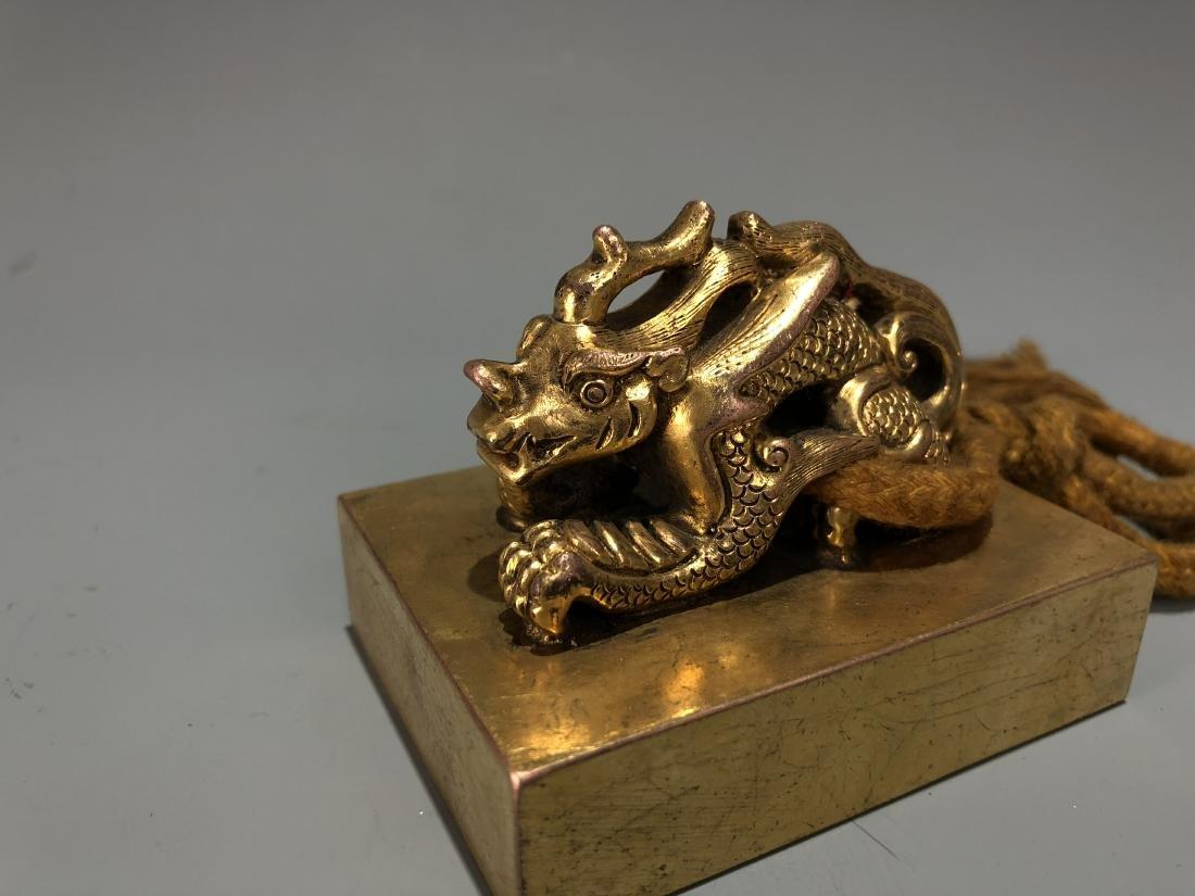 Gilt Bronze Dragon Seal - 4