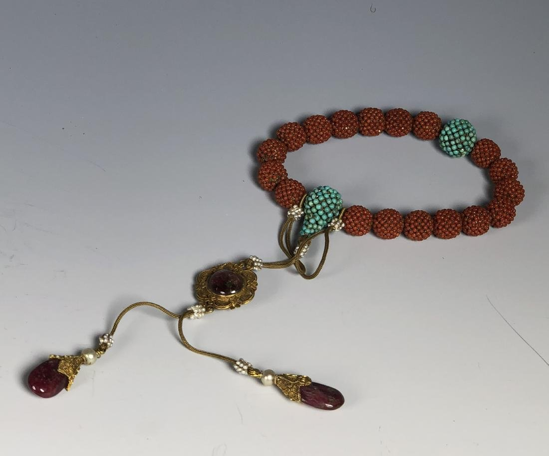 Agar Wood Prayer Beads with Coral Turquoise Tourmaline