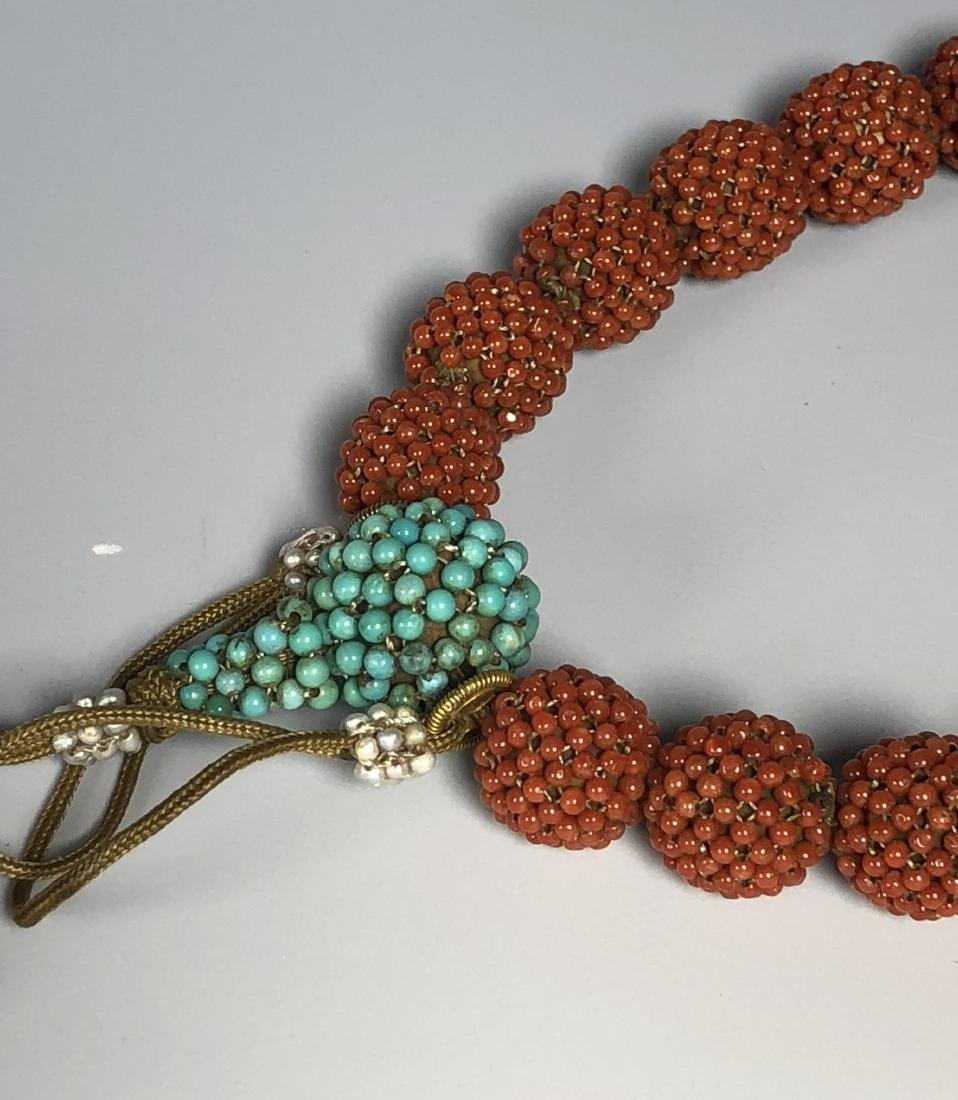 Agar Wood Prayer Beads with Coral Turquoise Tourmaline - 3