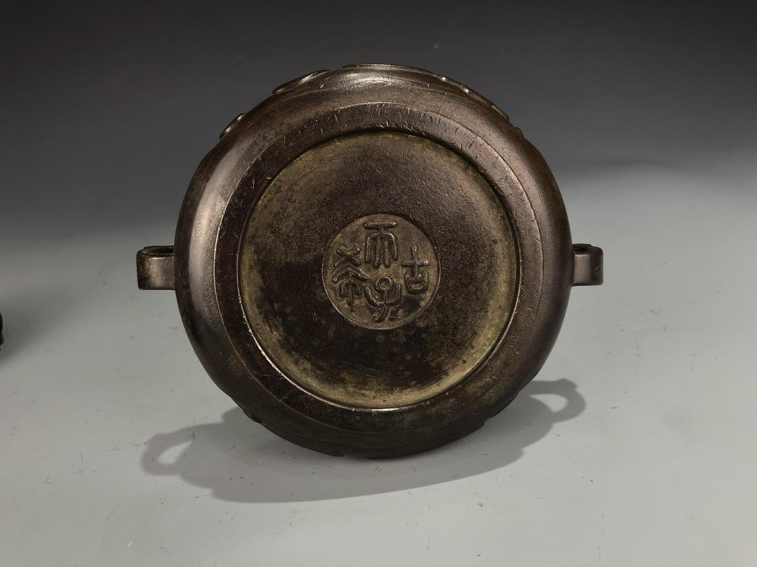 Bronze Censer with Cover and Zitan Stand, Marked - 4