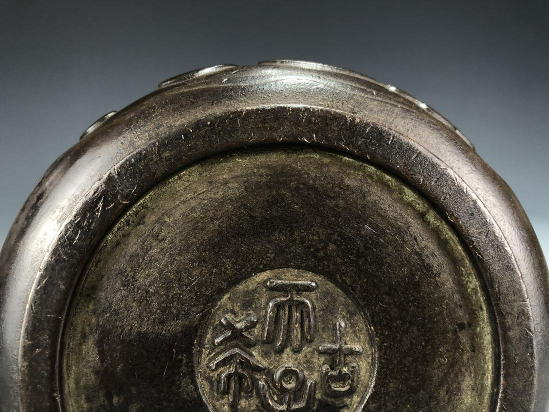 Bronze Censer with Cover and Zitan Stand, Marked - 5