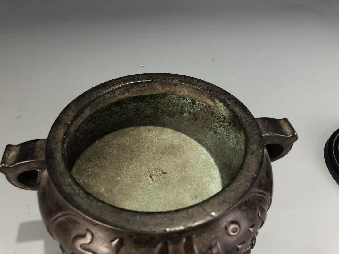 Bronze Censer with Cover and Zitan Stand, Marked - 8