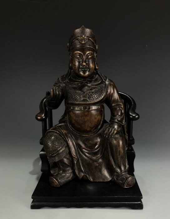 Agarwood Figure of GUANYU w/ Zitan Base