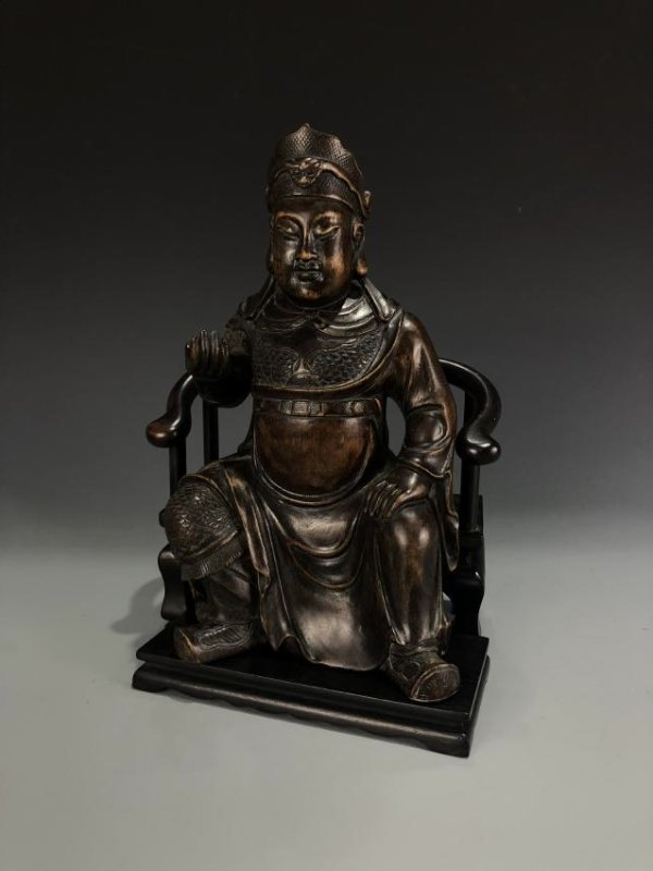 Agarwood Figure of GUANYU w/ Zitan Base - 2