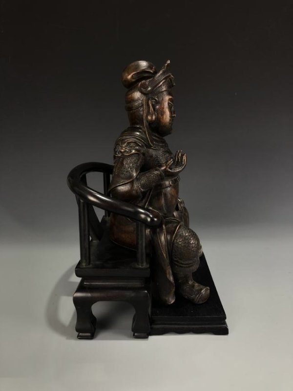 Agarwood Figure of GUANYU w/ Zitan Base - 4