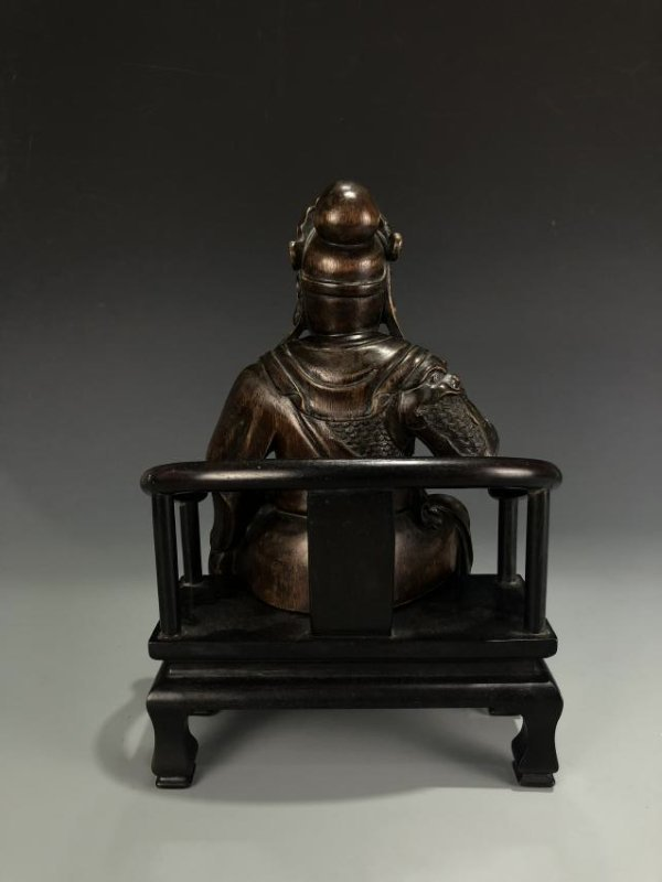 Agarwood Figure of GUANYU w/ Zitan Base - 5