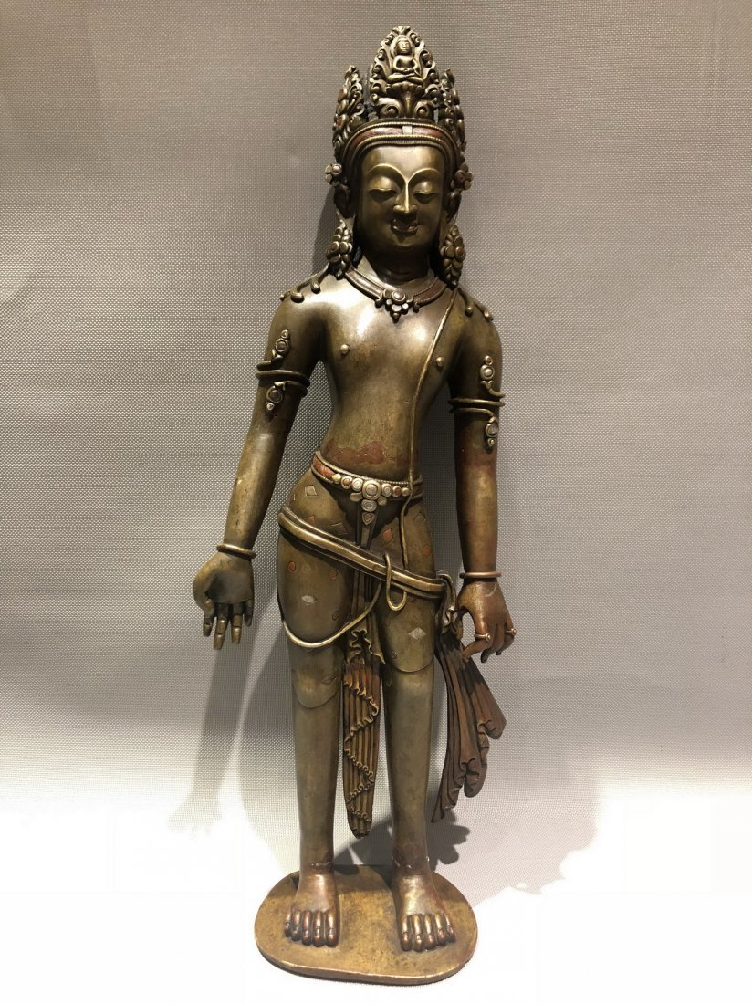 Large Bronze Figure Of Standing Guanyin