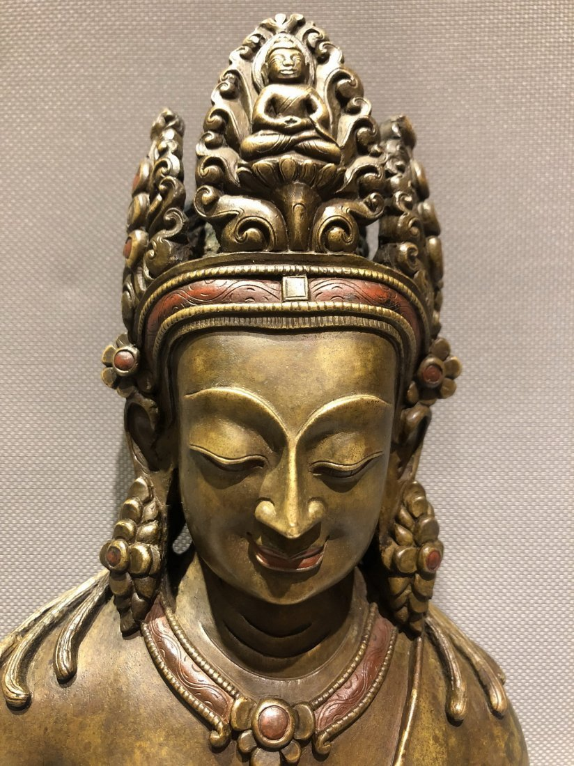 Large Bronze Figure Of Standing Guanyin - 3